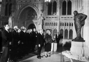 Unveiling Churchill's statue in the House of Commons