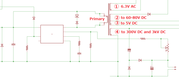 Typical multiwinding flyback circuit - as used in production model Oscilloclocks