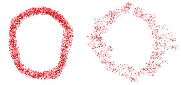 Graffiti circle sprayed normally (left) vs. using raster scanning (right)