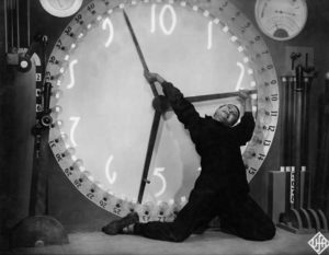 In this scene, Freder struggles with the clock machine...