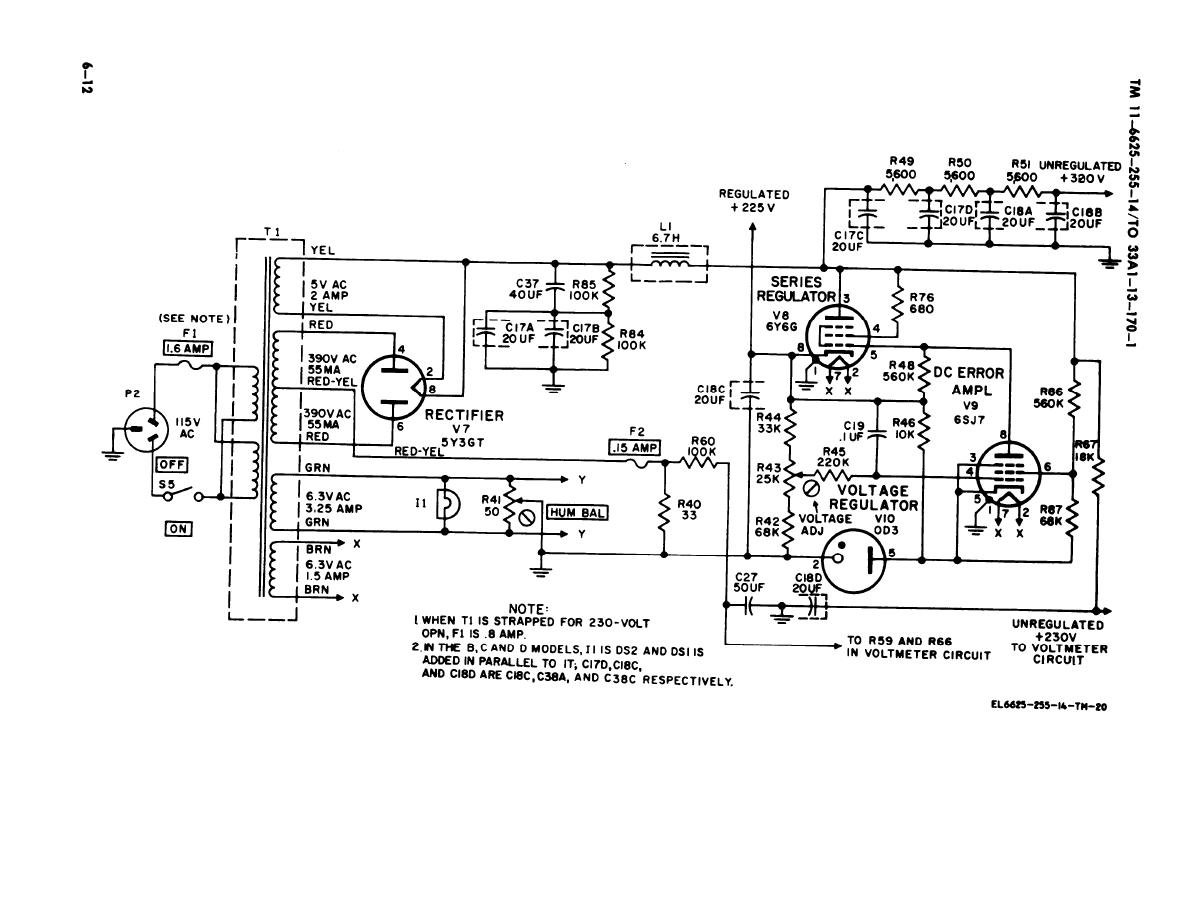 Figure 6-12. Power supply circuit, simplified schematic