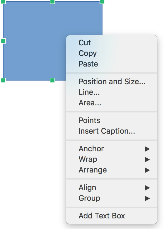 Context menu for shapes in LibreOffice Writer