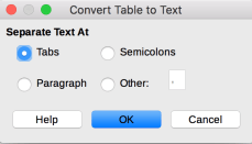 Convert Table to Text dialog in LibreOffice Writer
