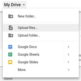 Google Drive's My Drive menu