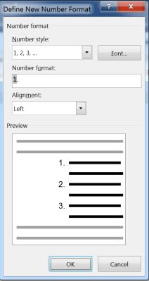 Define Numbering List in Microsoft Word