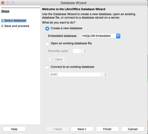 Database Wizard in Mac