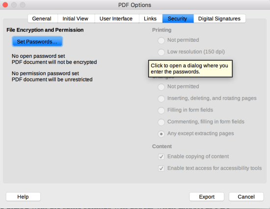 Security tab in LibreOffice PDF Options dialog