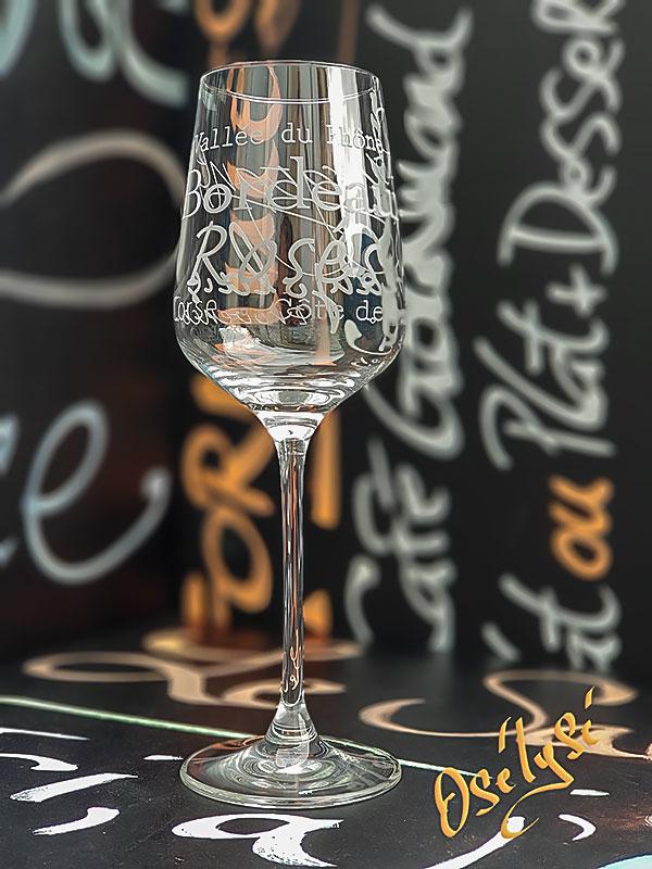 Verre à vin gravé 35cl en cristallin