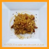 Courge Stripetti en salade aux fruits à coque, miel et graines de lin