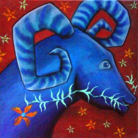 Bélier rêveur, peinture de Laure Gerbaud