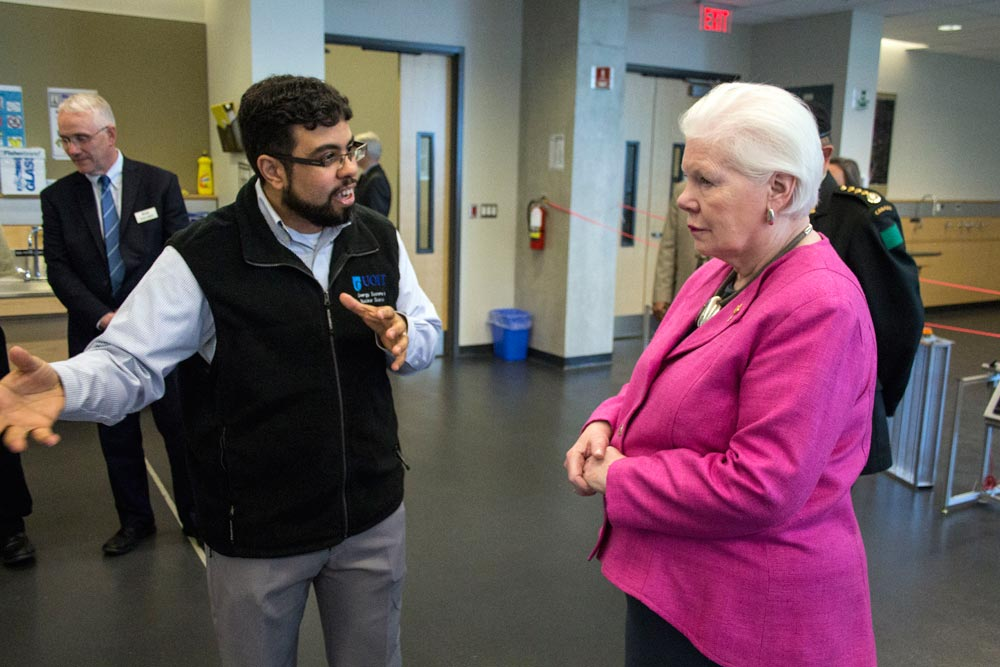 Lieutenant Governor Elizabeth Dowdeswell is all ears as Khalid Rizk, an engineering specialist with the University of Ontario Institute of Technology, shows the viceregal representative around the school's north campus. Dowdeswell was in Oshawa ahead of the long weekend for a number of meetings and public events.