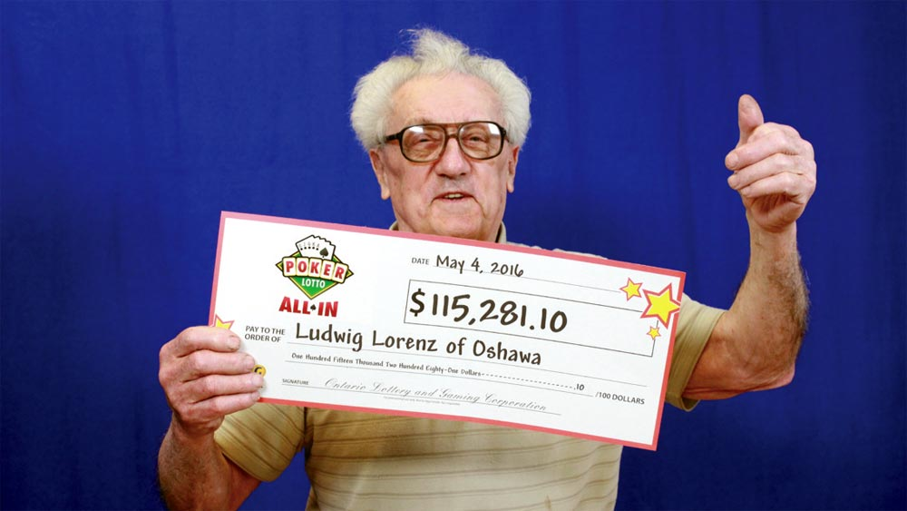 Oshawa resident Ludwig Lorenz is the lucky winner of more than $115,000 on a game of Poker Lotto All In.
