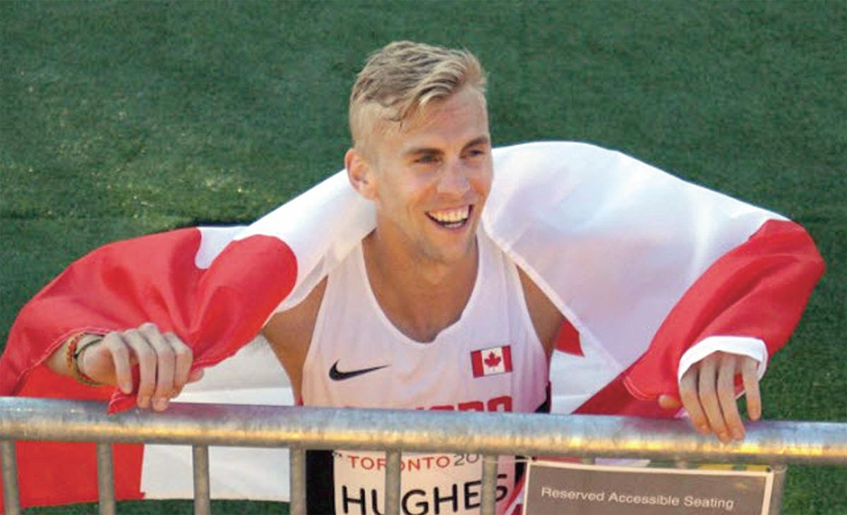 Oshawa native Matt Hughes is currently training on the west coast in preparation for Olympic trials hoping to secure a spot on the Canadian team heading to the Rio Olympics. Here Hughes is seen celebrating his Pan Am gold medal victory in July. (Photo courtesy of the Hughes family)