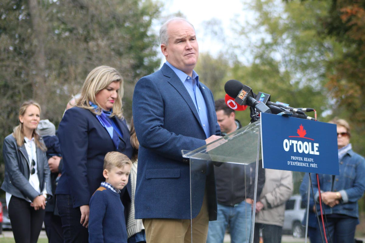 With his wife Rebecca and children Jack and Mollie (not visible) behind him, Durham MP Erin O'Toole announced that he would be joining the race for leadership of the Conservative Party of Canada. Two leadership debates are scheduled for next month, with the final vote on who will lead the opposition party coming in May 2017.