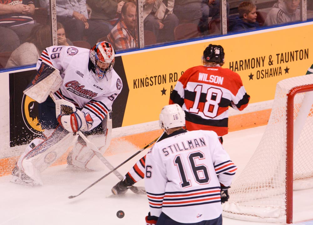 The Oshawa Generals defeated the Ottawa 67s 6-0 on Nov. 6 to regain their spot atop the Eastern Conference in the OHL standings. Above, goaltender Jeremy Brodeur plays the puck behind the net on his way to a 19-save shutout, his first of the season.
