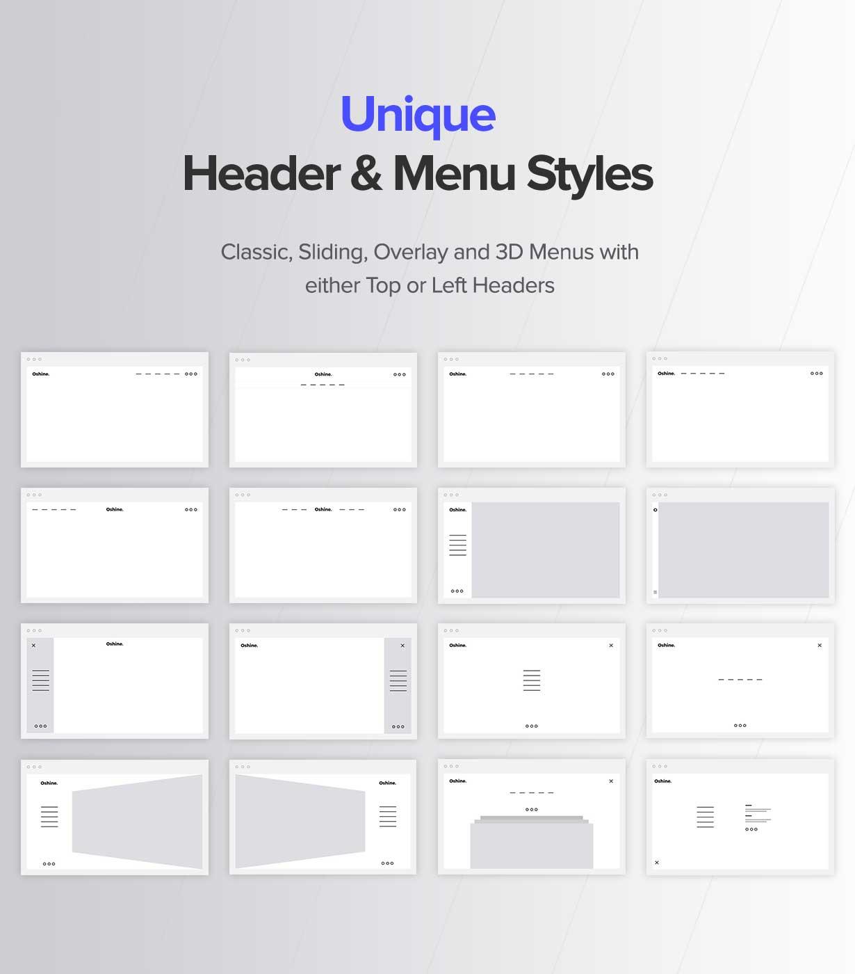 Unique Header & Menu Styles