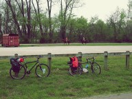 At a the 150 mile marker, Josh hits his final flat in the small, sleepy town of Mokane, MO. We are officially out of tubes.