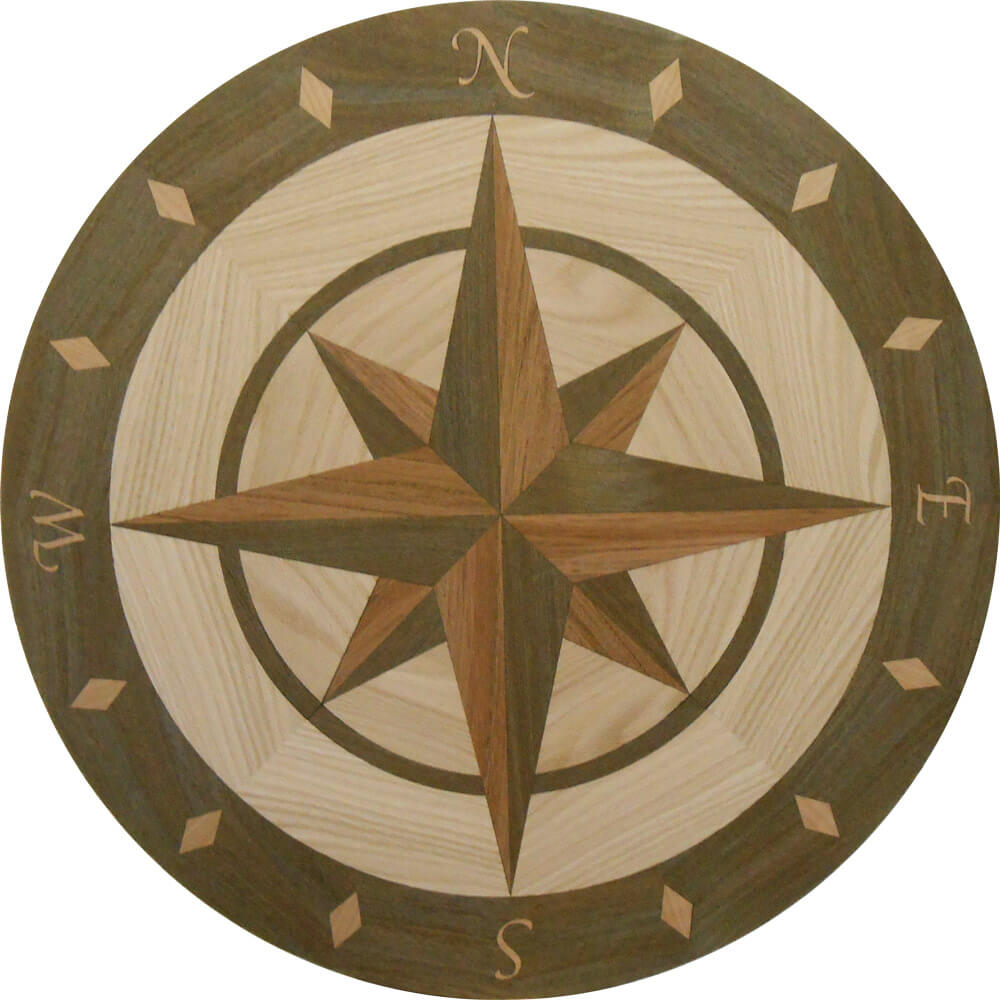custom compass rose wood medallion 3