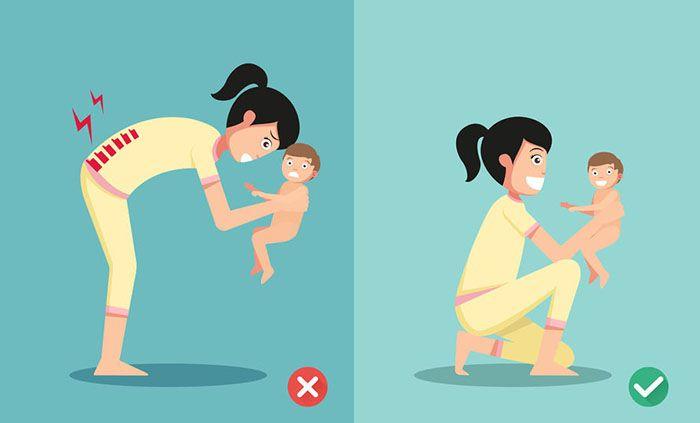 posturas para levantar un bebe