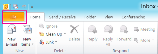 In Outlook 2010, choose the File tab.