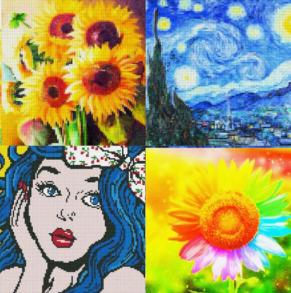 네군데로 나눠져있으며 왼쪽 위에는 해바라기가 아래는 파란머리의 여성이 손을 볼에 대고 있는 팝아츠 오른쪽 위에는 고흐의 별이 빛나는 밤이 있고 아래는 무지개빛의 해바라기가 있다.