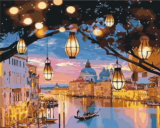 전들이 있고 불빛의 잔상이 있으며 도시가운데 강 위에 사람이 배를 젖고 있는 그림이다.