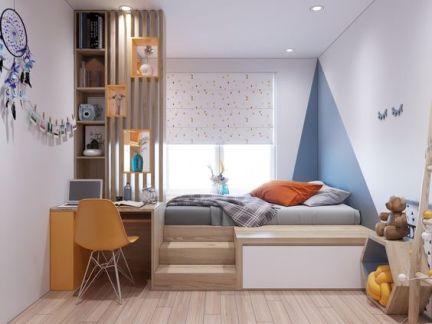 편안한 휴식이 가능한 침대와 넉넉한 수납공간이 한 세트인 실용적인 가구 세트.
