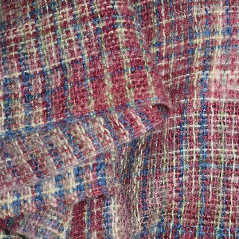 soft checkered woolen cloth in stack