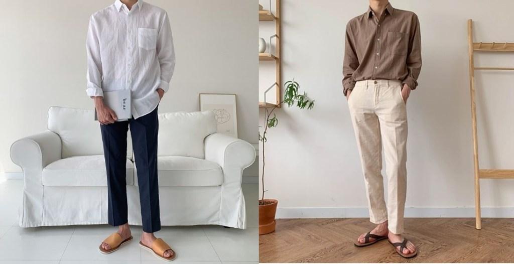 남자 여름 코디 린넨셔츠와 슬렉스 샌들 슬리퍼의 스타일링 패션