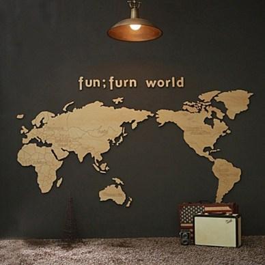 우드 소품 세계 지도