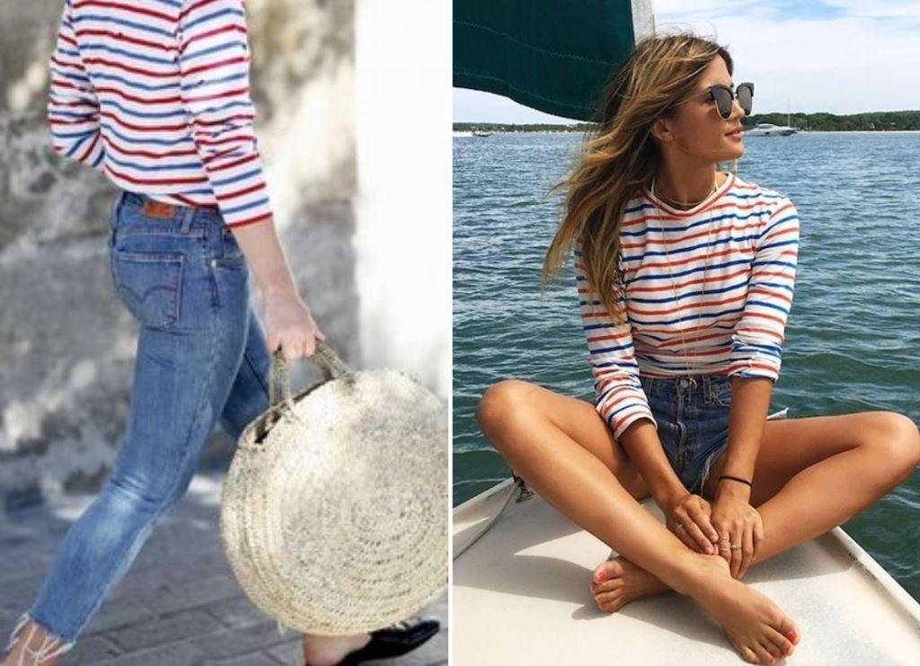 줄무늬 단가라 상의 코디시 하의는 무난한 것이 좋다 여자 단가라 패션 스타일링