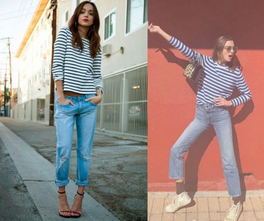 스트라이프 티셔츠와 데님 코디방법 블라우스도 좋다 캐주얼하게 입으려면 스니커저, 여성스러움을 강조하고싶다면 스트랩 오픈힐