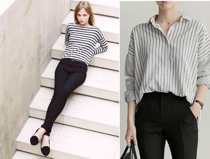 스트라이프 단가라 코디 블랙팬츠와 티셔츠나 셔츠 코디 하이웨스트와 함께 매치하면 몸의 곡선을 살린다