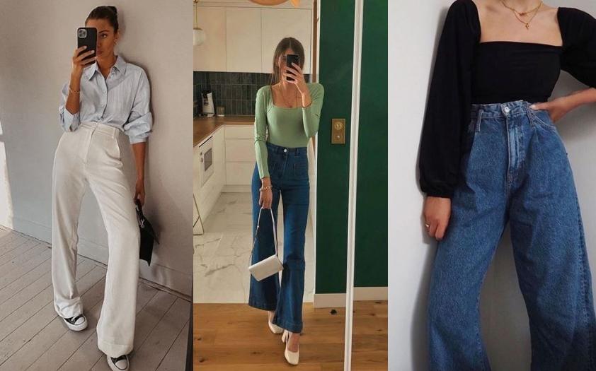 여자 패션 기본템 하이웨스트 와이드 청바지 다리가 길어보이게 하고 날씬해보이는 효과가 있다