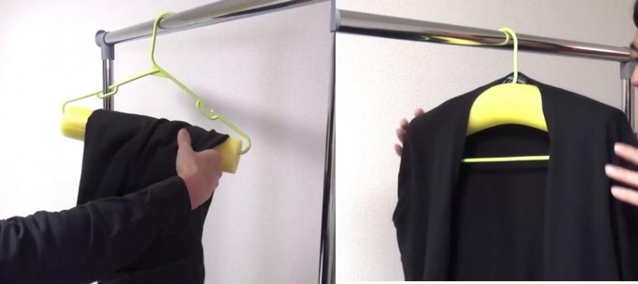 옷걸이세 둥근 스티로폼을 꽂아 바지걸이 재킷걸이로 활용하는 방법