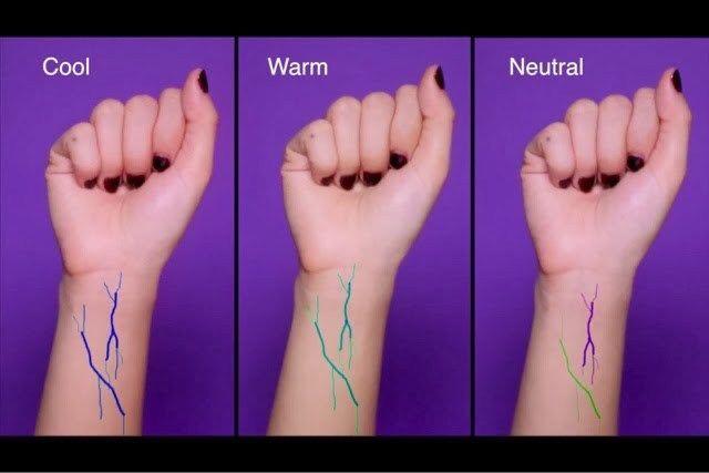 손목 핏줄을 통해 쿨톤 웜톤인지를 알 수 있다.