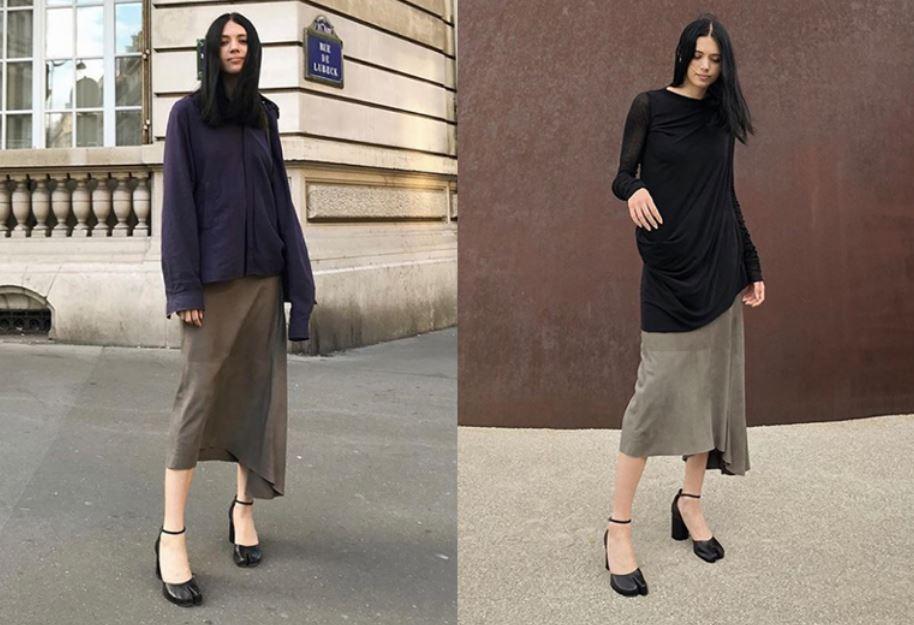 메종 마르지엘라 타비슈즈 Kailee McKenzie는 희소성 있는 디자인인 블랙 컬러의 타비 펌프스로 세련된 스타일을 연출