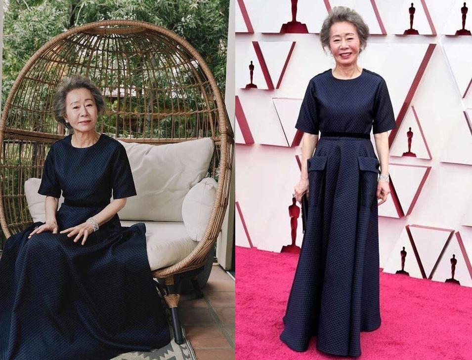 윤여정 패션 제93회 아카데미 마마르 할림의 롱 드레스