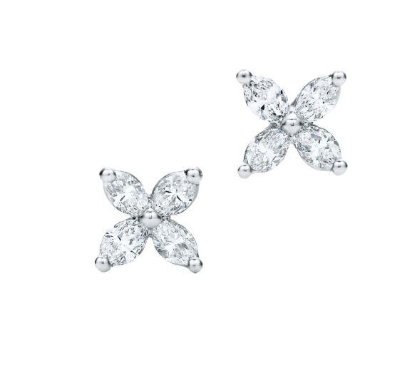 마르키즈 컷 다이아몬트 세팅 플래티넘 빅토리아 이어링 Tiffany&Co.