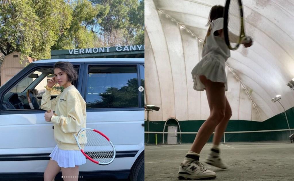 테니스 패션 스웨트셔츠와의 조합