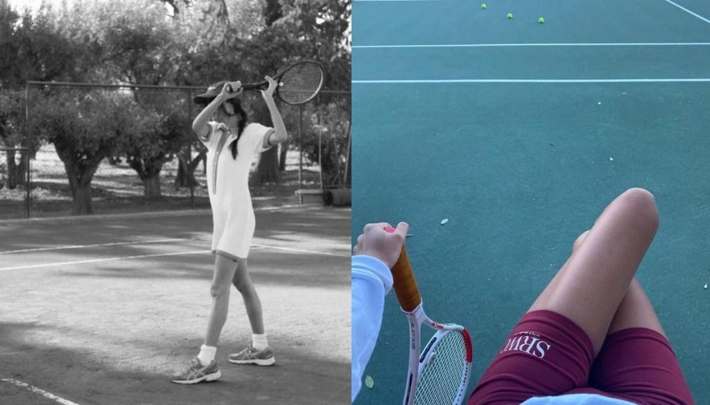 레트로한 분위기의 테니스 룩