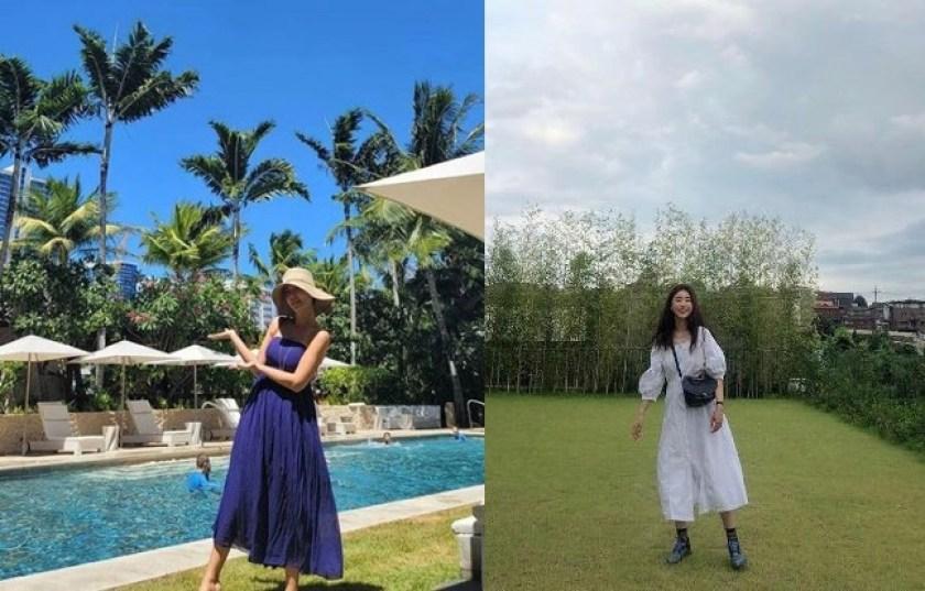 여름 바캉스 원피스 롱 기장의 원피스 황정음과 소진의 롱 드레스 패션