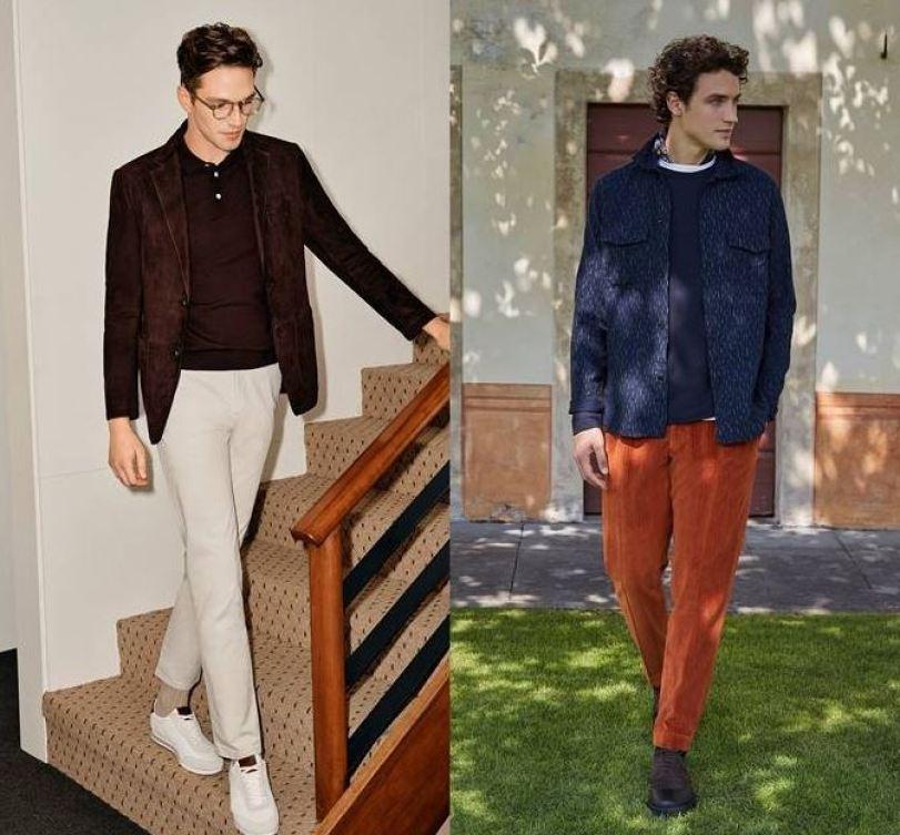 남자 가을 패션 클래식하게 표현된 다크한 네이비 톤이 블랙을 대체하고 카멜 베이지 브라운 컬러로 편안함과 따뜻한 생동감을 상징하는 레드계열 버건디 의상 갤럭시라이프 2021 FW  / 슬로웨어 2021 FW