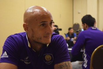 Aurélien Collin speaks with the Orlando Soccer Journal during Orlando City SC's media day on Friday, February 26, 2016. (Victor Ng / Orlando Soccer Journal)