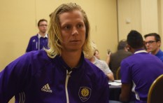 Brek Shea speaks with the Orlando Soccer Journal during Orlando City SC's media day on Friday, February 26, 2016. (Victor Ng / Orlando Soccer Journal)