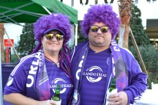Fans show their purple pride at the Orlando City SC Happy Hour event in Lake Nona on Jan. 29, 2016. (Rosie Reitze / Orlando Soccer Journal).