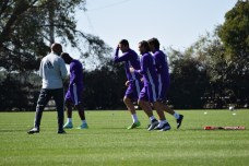 Orlando City SC players jog over to the next drill during training prior to the club's media day on Friday, February 26, 2016. (Victor Ng / Orlando Soccer Journal)
