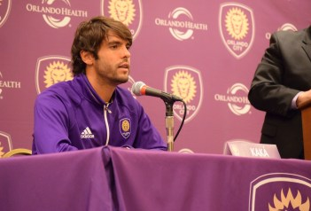 Ricardo Kaká addresses the media during Orlando City SC's media day on Friday, February 26, 2016. (Victor Ng / Orlando Soccer Journal)