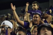 A younger fan partakes in the match-day festivities during the Orlando City-Chicago Fire match in the Orlando Citrus Bowl on Friday, March 11, 2016. The match concluded in a 1-1 draw. (Victor Ng / Orlando Soccer Journal)
