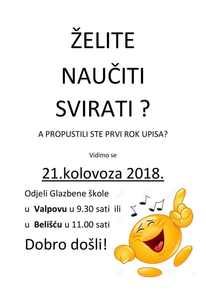 Drugi rok upisa u glazbene odjele Valpovo i Belišće